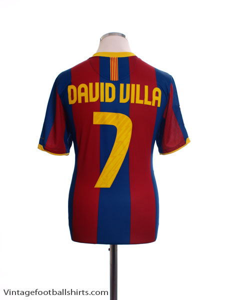 2010-11 Barcelona Home Shirt David Villa #7 M