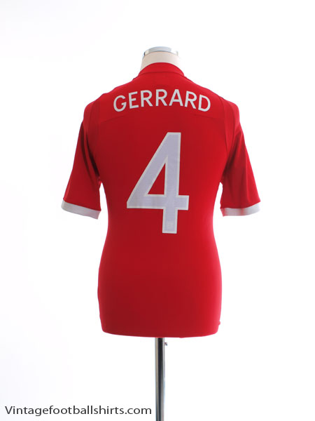 2010-11 England Away Shirt Gerrard #4 S