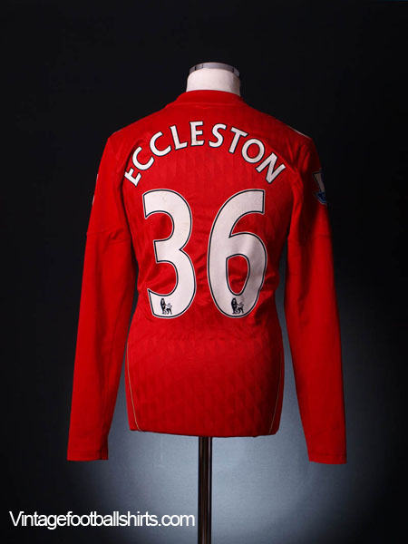 2010-11 Liverpool Match Issue Home Shirt Eccleston #36 L