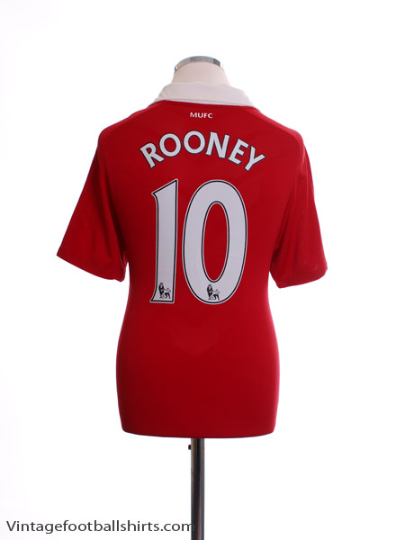 2010-11 Manchester United Home Shirt Rooney #10 L - 382469-623