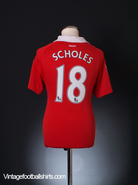2010-11 Manchester United Home Shirt Scholes #18 XXL