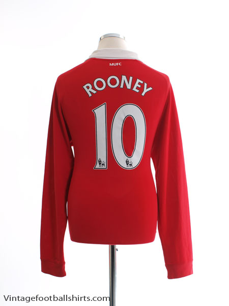 2010-11 Manchester United Home Shirt Rooney #10 L/S M - 382996-623