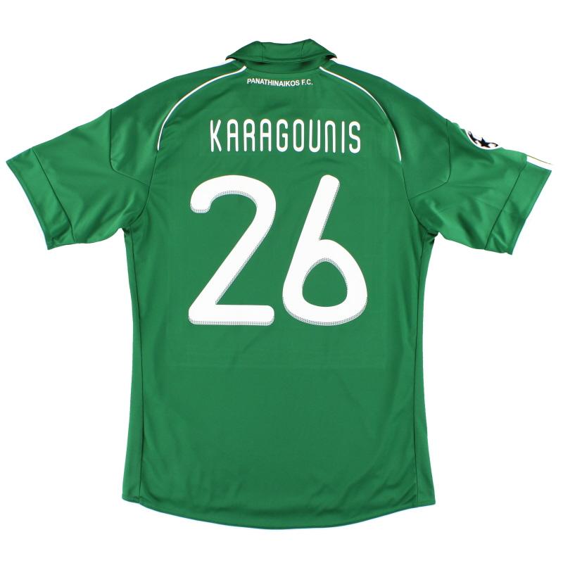 2010-11 Panathinaikos adidas CL Home Shirt Karagounis #26 *Mint* M - P95147