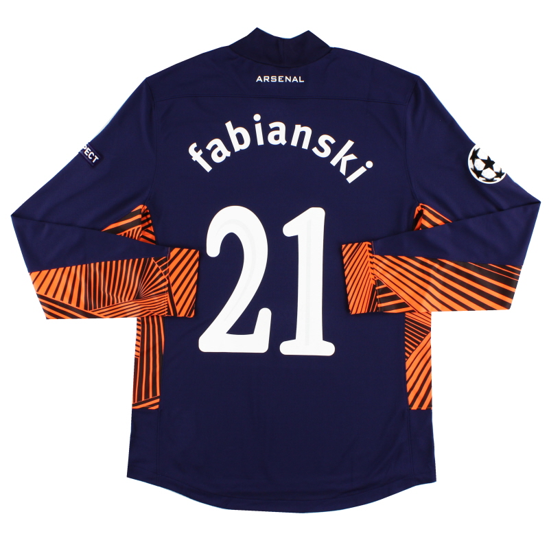 2011-12 Arsenal CL Match Issue Goalkeeper Shirt Fabianski #21 L/S L