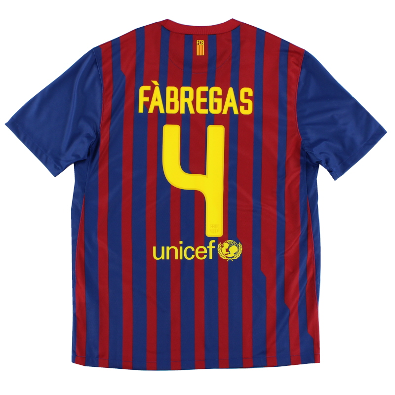 2011-12 Barcelona Home Shirt Fabregas #4 *Mint* M - 419877-486