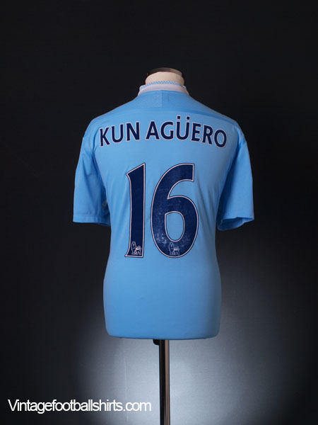 super popular 66100 a90ca 2011-12 Manchester City Home Shirt Kun Aguero #16 XL for sale