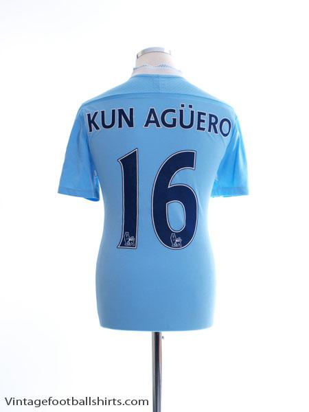 2011-12 Manchester City Home Shirt Kun Aguero #16 M