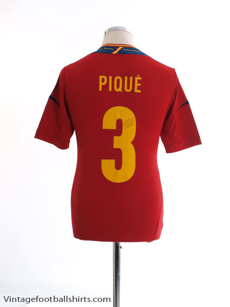 2011-12 Spain Home Shirt Pique #3 *Mint* S