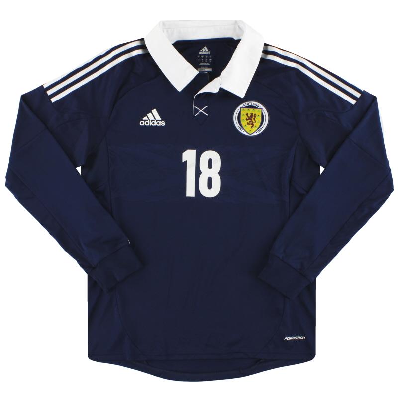 2011-13 Scotland adidas Player Issue Home Shirt #18 L/S L - X11930