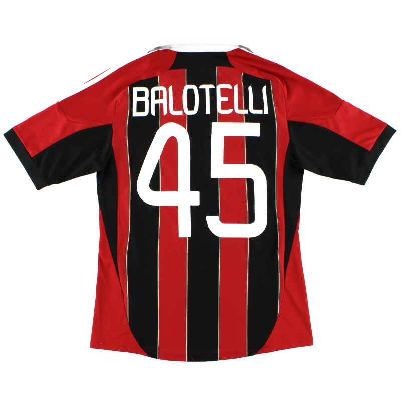 2012-13 AC Milan Home Shirt Balotelli #45 S - X23680