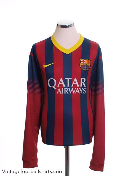 2013-14 Barcelona Home Shirt L/S *Mint* M - 547926-413