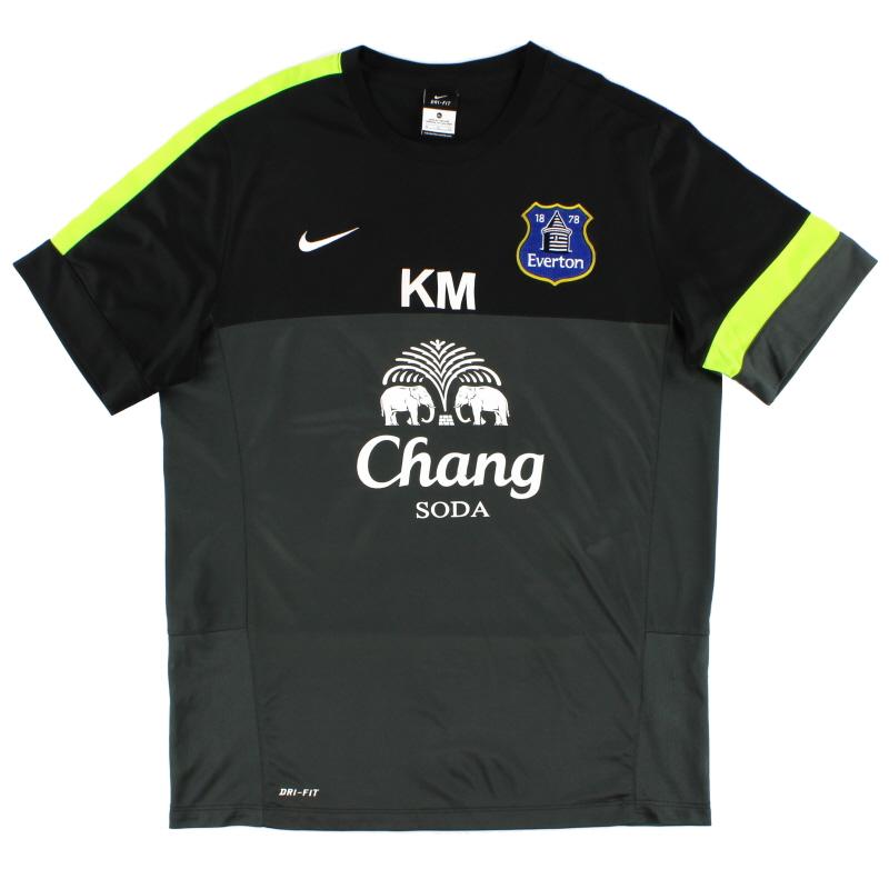 2013-14 Everton Worn Training Shirt 'KM' XL