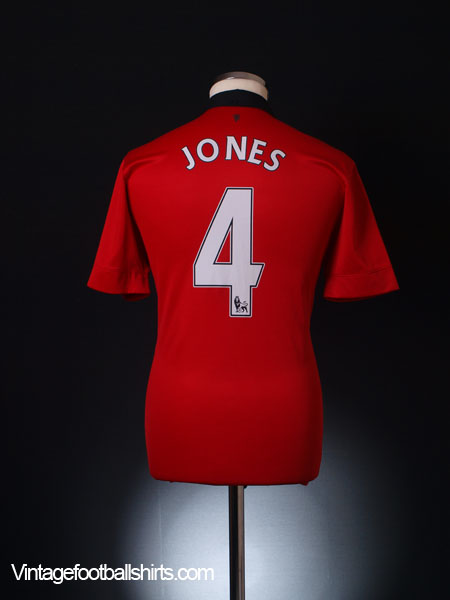 2013-14 Manchester United Home Shirt Jones #4 *Mint* M