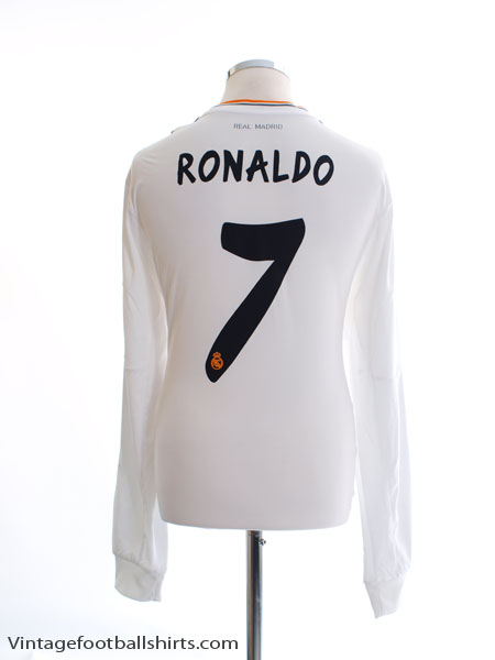 2013-14 Real Madrid Home Shirt Ronaldo #7 L/S *Mint* XL
