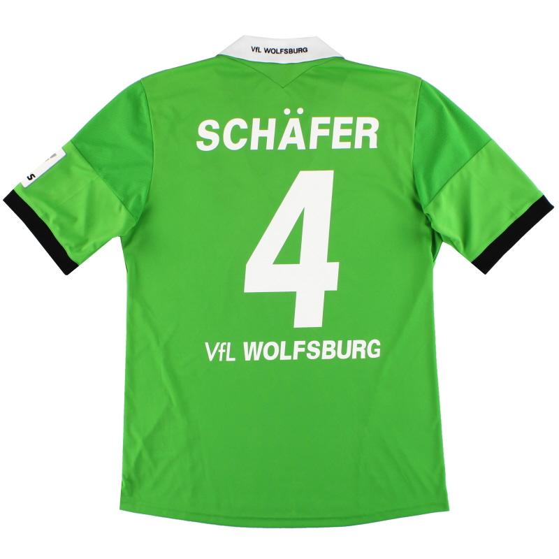 2013-14 Wolfsburg adidas Away Shirt Schafer #4 *Mint* M - G69016