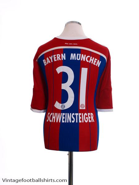 2014-15 Bayern Munich Home Shirt Schweinsteiger #31 M - F48499
