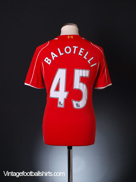 2014-15 Liverpool Home Shirt Balotelli #45 *Mint* S