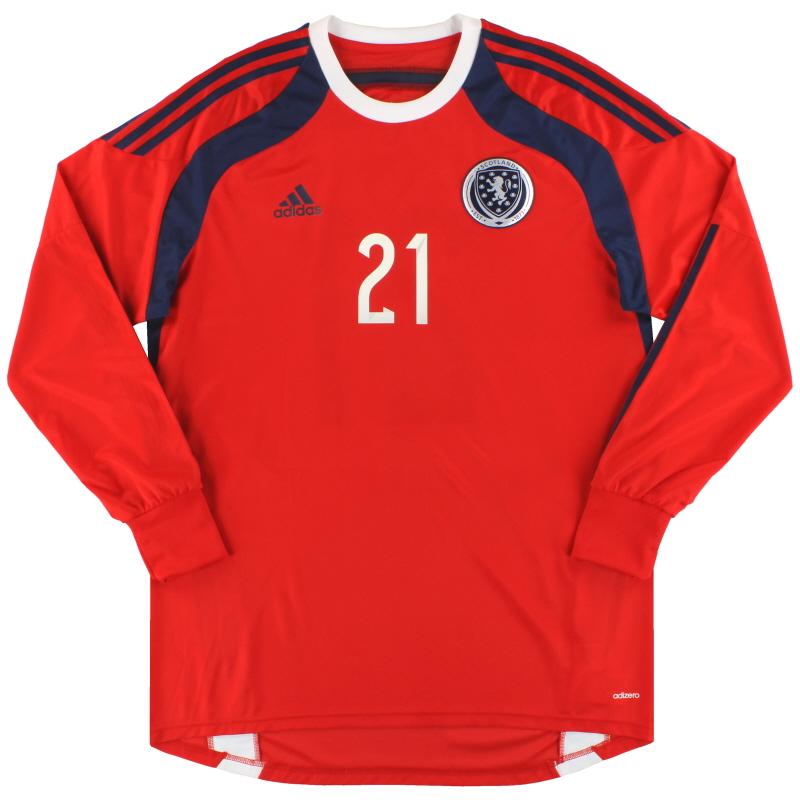 2014-15 Scotland adidas adizero Goalkeeper Shirt #21 *As New* - D86713