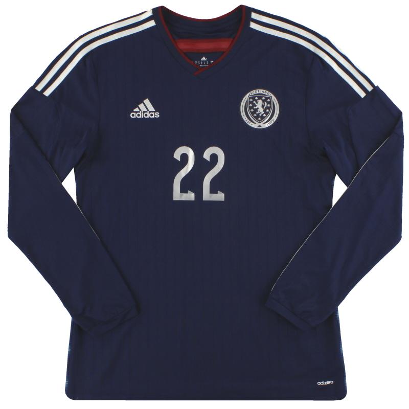 2014-15 Scotland adidas adizero Player Issue Home Shirt L/S #22 *As New* M - G87119