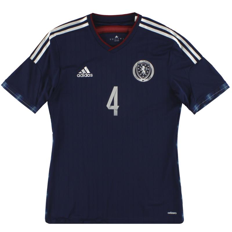 2014-15 Scotland adidas adizero Player Issue Home Shirt #4 *As New* S - G87118