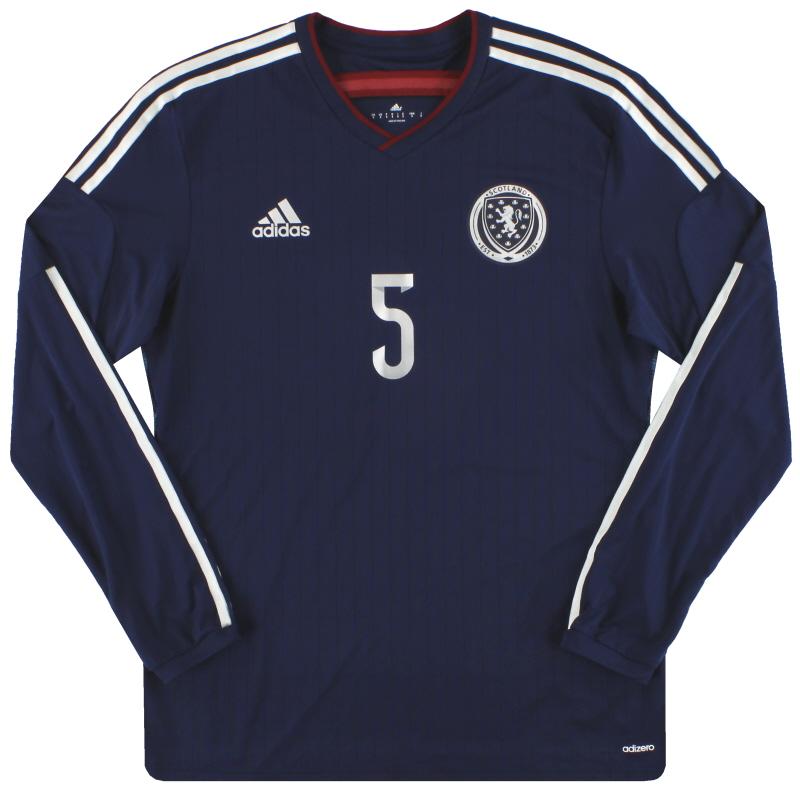 2014-15 Scotland adidas adizero Player Issue Home Shirt L/S #5 *As New* - G87119