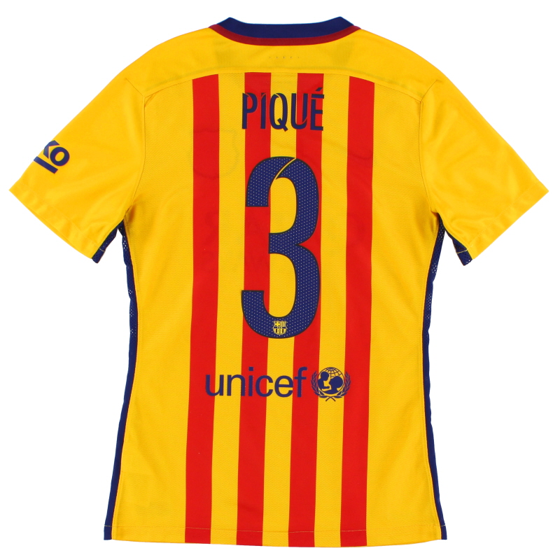 2015-16 Barcelona Player Issue 'Authentic' Away Shirt Pique #3 S - 739659-740