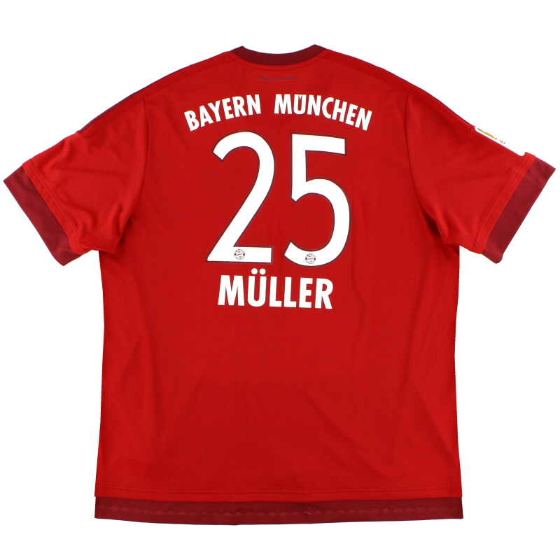 2015-16 Bayern Munich Home Shirt Muller #25 XXL - S14294