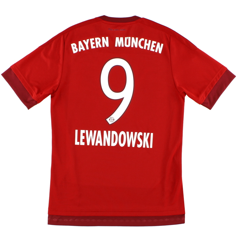 2015-16 Bayern Munich Home Shirt Lewandowski #9 *Mint* Y - S08605