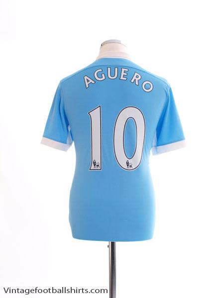 2015-16 Manchester City Home Shirt Aguero #10 S - 658886-489