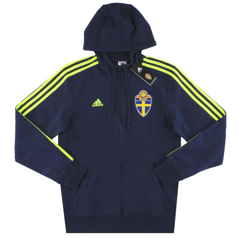 2015-16 Sweden adidas 3 Stripes Full Zip Hoodie *BNIB* S - AP5439