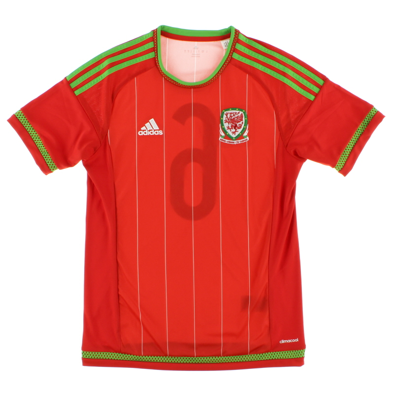 2015-16 Wales Match Issue Home Shirt #6 *Mint* S - S29466