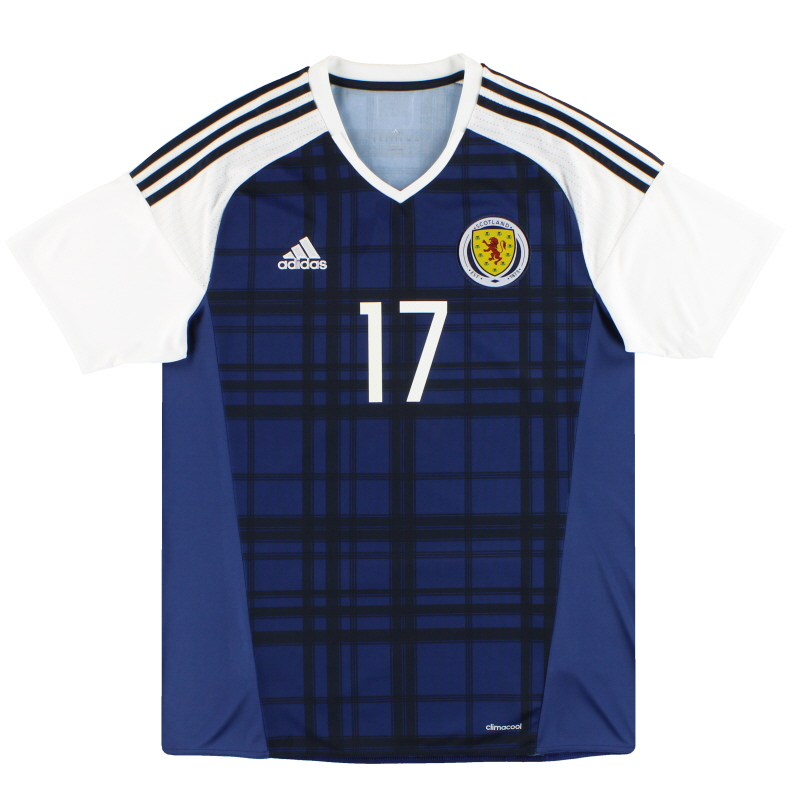 2016-17 Scotland adidas Player Issue Home Shirt #17  - AI6602