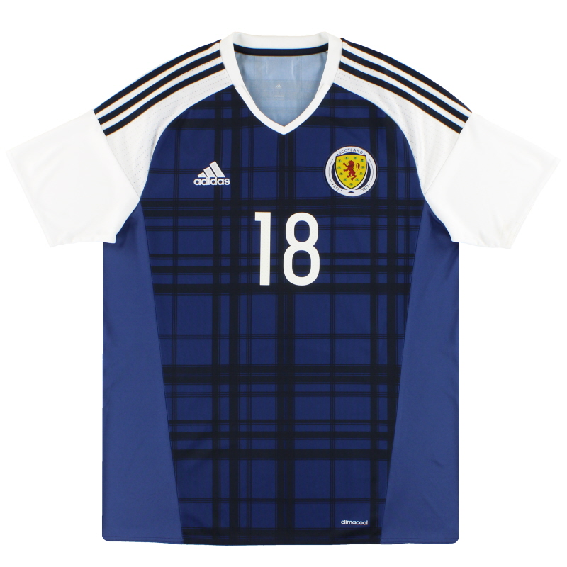 2016-17 Scotland adidas Player Issue Home Shirt #18 L - AI6602