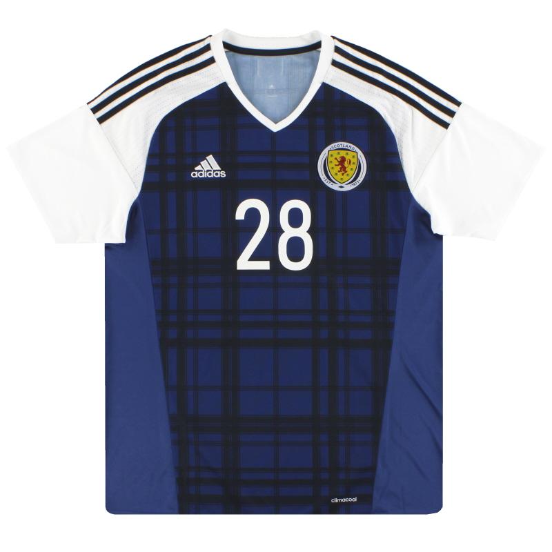 2016-17 Scotland adidas Player Issue Home Shirt #28 L - AI6602