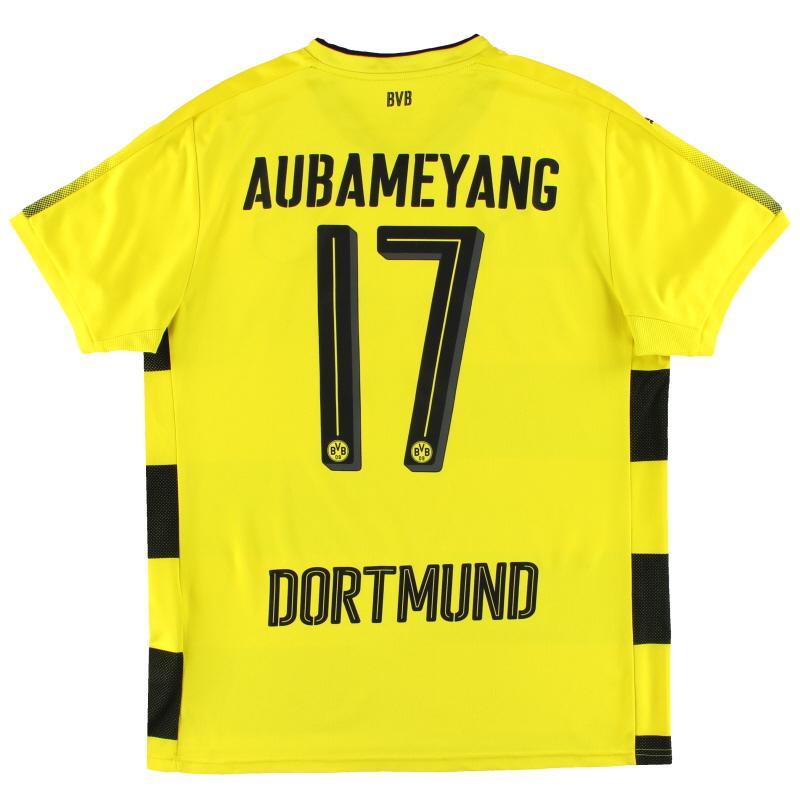 2017-18 Dortmund Puma Home Shirt Aubameyang #17 L - 751670