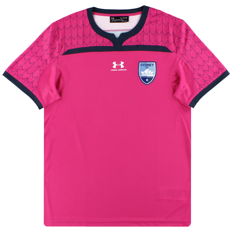 2019-20 Sydney FC Under Armour Player Issue Pink Goalkeeper Shirt *As New* L - SYJR142