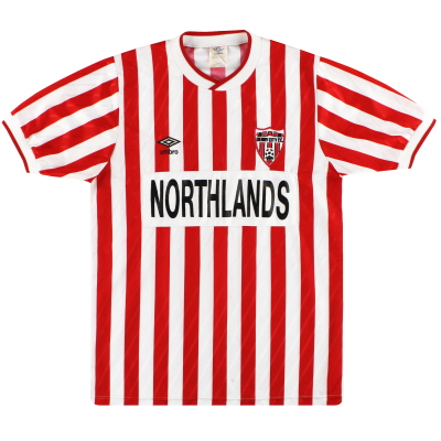 1988-90 Derry City Umbro Match Issue Home Shirt #8 M