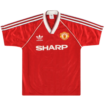 1988-90 Manchester United adidas Home Shirt S