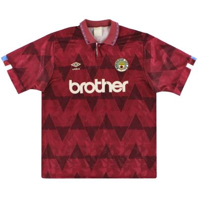 1990-92 Manchester City Umbro Away Shirt XL