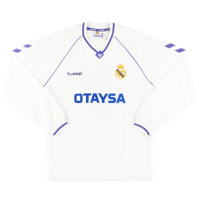 1990-92 Real Madrid Home Shirt L/S XL