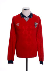 1990-93 England Away Shirt L/S L