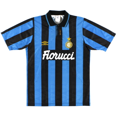 1992-94 Inter Milan Match Issue Home Shirt #18 S
