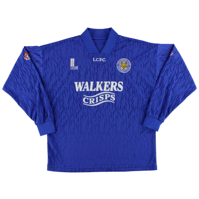 1992-94 Leicester Fox Leisure Match Issue Home Shirt L/S #4 XL