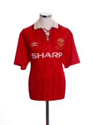 1992-94 Manchester United 'PL Champions' Home Shirt M