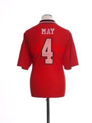 1994-96 Manchester United Home Shirt May #4 L