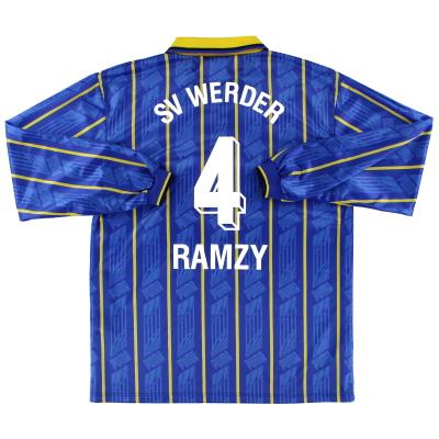 1995-96 Werder Bremen Away Shirt Ramzy #4 L/S M
