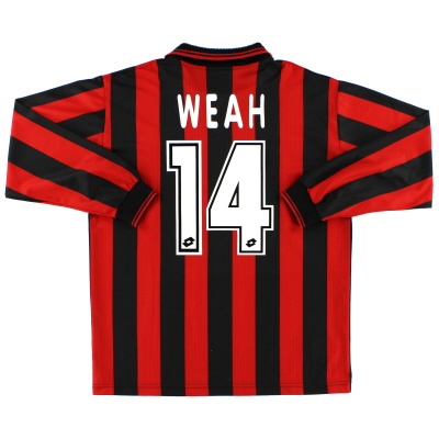 1996-97 AC Milan Home Shirt Weah #14 L/S XL