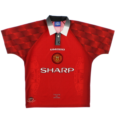 1996-98 Manchester United Umbro Home Shirt L.Boys