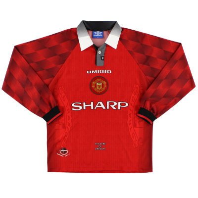1996-98 Manchester United Home Shirt L/S *Mint* L