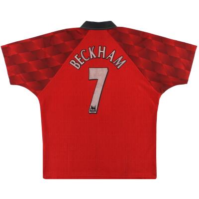 1996-98 Manchester United Umbro Home Shirt Beckham #7 L